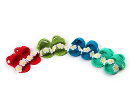 Wholesale Crochet Cute Baby Shoes - New summer cute baby shoes for newborn baby boy girls knitting handmade baby first walkers infant shoes socks