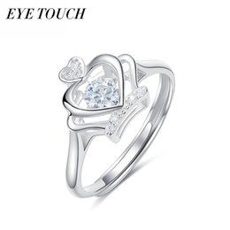 Wholesale dance touch - wholesale EYE TOUCH Luxury Women Ring Dancing Stone Rings 925 Sterling Silver Jewerlry Fashion Engagement Lady Valentine's Day Gift