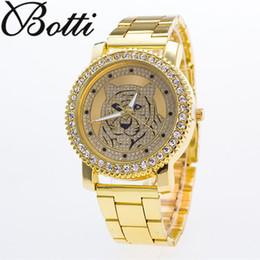 Assiste tigres on-line-Senhoras de Moda de Luxo Relógios de aço dos homens de Cristal Rhinestone Reloj mulher Relógio Espumante Brilhante Dial tigre Assista Marca relógios