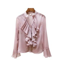 camicie femminili Sconti Top da donna con scollo a V a maniche lunghe in chiffon con scollo a V a maniche lunghe