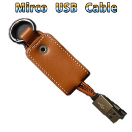 Wholesale keychain micro usb charger - phone cable usb cable lightning cable micro 20CM 0.67FT Leather Keychain Micro USB Charger durable Cell Phone With Metal Head Plug