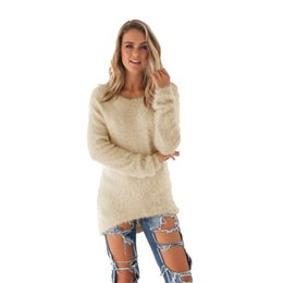 knitwear cute sweaters Promo Codes - Autumn Winter fashion lady Sweaters  cute Yellow red solid color bc436cf1d