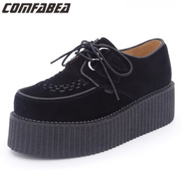 c530b722 Otoño 2017 Hombres Zapatos Casual Creepers Cuero Genuino Zapatos Casuales  Plataforma Plana Plataforma de Gamuza Negra Lace Up supplier black lace up  ...