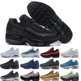 Nike air max 95 designer shoes 2018 nuove scarpe casual uomo di alta qualità nero oro rosso cuscino d'aria sportivo Sneakers taglia 40-45 da