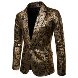 2019 i migliori costumi uomini Men New Suit Blazer Jacket personalità stampato Slim fit Homme Fashion Wedding Party Stage Costumes Best man Dress Blazer i migliori costumi uomini economici