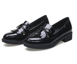 Wholesale burgundy patent leather platform heels - New 2018 PU Patent leather Women Pumps Square Middl Heel Tassel Pointed Toe Platform Autumn Ladies Wedding Shoes Size 34-40