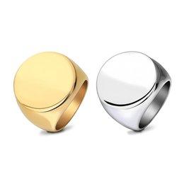 joyería de plata de los hombres Rebajas Anillo de acero inoxidable de la vendimia para hombres geométrico ronda brillante plateado anillo de plata de la banda de oro accesorios de joyería de moda al por mayor envío gratuito