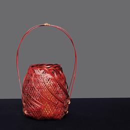 Vasi di bambù online-Cestino di bambù pastorale, cesto di fiori, sentiero di fiori, fiore d'arte di bambù e apparato di fiori giapponesi in vaso e sala da tè