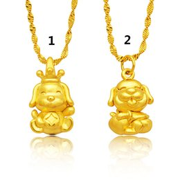Wholesale Vietnam Gold - 2018 New Style Female Fashion 3D Hard Gold Hollow Brass Necklace Zodiac Gold Dog Vietnam Cartoon Dog Pendant Gold