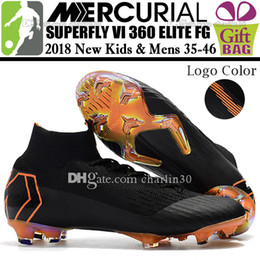 Wholesale kids lace ankle socks - New Original Women Men Kids Football Boots High Ankle Mercurial Superfly VI 360 Elite ACC Soccer Shoes Black Orange Boys Socks Soccer Cleats