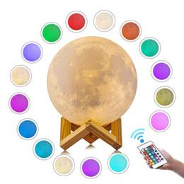 3D-Druck Mond Nachtlicht LED Touch Schlagkontrolle mit Fernbedienung 16 Farben ändern Moonlight Tischlampe Wiederaufladbare Weihnachten Geburtstagsgeschenk von Fabrikanten