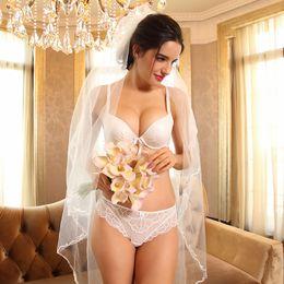 c6e5d54ee2 Brand Lingerie Women Underwear Pure White Wedding Sexy Bras Panties Set New  Lace Soft Cotton Cup Push Up Gather Bra   Brief Set