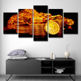 landscape photo painting hd Coupons - Modern Pictures HD Printed Canvas Oil Painting Home Wall Art Photo Decor 5 Panels Gold Coins Landscape Poster