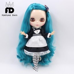 Wholesale Doll Lolita - Wholesale-Free shipping for blyth doll icy licca waitress suit black dress with leggings apron 1 6 30cm lolita clothes