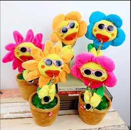 Wholesale Sunflower Style - Sunflower Plush Music Toys Handmade Electric Enchanting Flowers Novel Style Saxophone Dance Funny Electronic music Toy 60pcs song KKA5110