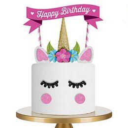 2019 conjuntos de decoración de la ducha del bebé Lindo Unicorn Cake Topper Set Kid Baby Shower Fiesta de cumpleaños de la Magdalena Banderas Decoración Pink Unicorn Party Cupcake Decoración conjuntos de decoración de la ducha del bebé baratos