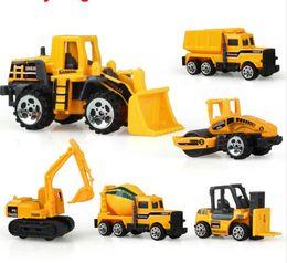 Wholesale Mini Construction Cars - 6 types Diecast mini alloy construction vehicle Engineering Car Dump-car Dump Truck Model Classic Toy Mini gift for boy
