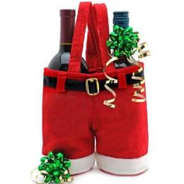 Canada Vente en gros- Noël Bonbons Bouteille de Vin Sac de Noël Santa Pantalon Cadeau Sac De Mariage Bonbons Sac De Noël Décor De Noël Cadeau Sacs supplier bags for wine bottles Offre