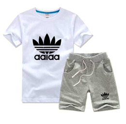 Wholesale Pc T Shirts - AD and NK Brand Kids Sets 2-7T Children T-shirt And Shorts Pants Kids Tracksuits Children Sport Suit 2 Pcs Sets Short Sleeve Sets