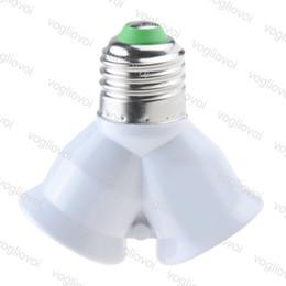 2019 steckdosen Lampenfassung E27 auf 2 E27 Lampenfassung Konverter Fassung für LED Licht Lampe E27 Schraube Splitter Adapter Weiß EPACKET günstig steckdosen