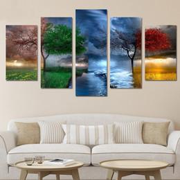 2019 livros de pinturas a óleo HD Impresso 5 Peças As Quatro Estações Cenário Modular Quadro Da Lona Quadro Arte Da Parede Pintura Casa Sala de estar Decoração Fotos