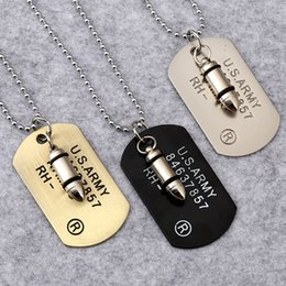 Wholesale Long Bronze Chain - 2018 Black Bronze USA ARMY Bullet Dog Tag Necklace with Long Bead Chain Fashion Hip Hop Necklace for Men Jewelry 162264