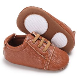 Wholesale First Month - Baby Boy PU skid-proof First Walkers Infant Soft Sole flat Crib Shoes Toddler Booties 0-18 Months - Spring   Autumn