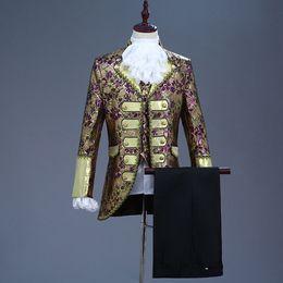 Классический набор из пяти частей Европа готический стиль Дворец костюмы темно-синий фиолетовый костюм мужчины этап певица партии Пром костюм от Поставщики стиль готический костюм