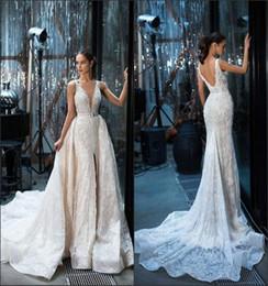 Wholesale train design skirt - Gorgeous Mermaid Wedding Dresses 2018 New Design V Neck with Detachable Train Split Front French Lace Vestido De Novia Summer Bridal Gowns