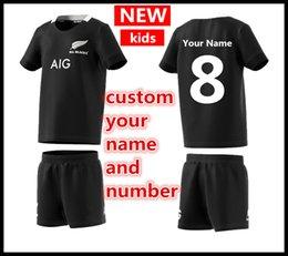 camisas feitas sob encomenda dos miúdos Desconto Personalizado seu nome e número 2019 Nova Zelândia Todos os Negros Crianças Mini Kit de Rugby em casa Jerseys Super Rugby camisa Todos os Negros Crianças jersey
