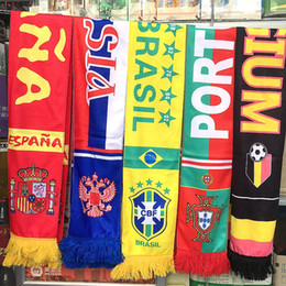 Wholesale Cheer Tops - 2018 Russia World Cup scarves TOP 32 Countries Shawl Wrap Fans Gifts Cotton Polyester scarf with tassel fans Cheer Scarves