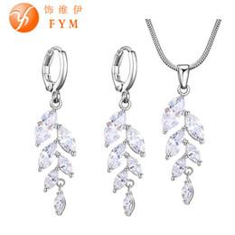 Wholesale Rose Swing - whole saleLuxury Swing Jewelry Sets Trendy Women's Silver Rose Gold Color Cubic Zircon Romantic Earrings Necklace Jewelry Sets for Women