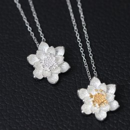 Wholesale Christmas Ornaments Flowers - S925 silver jewelry, silver ornaments, silver necklaces, double colored lotus Pendant Necklace, chain of Singapore chain, China jewelry