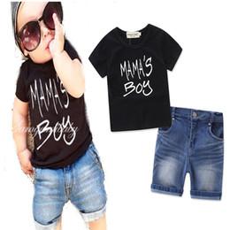 Wholesale 12 month boy jeans - Fashion Boys Childrens Sets Letters Black tshirts Jeans Shorts Pants 2Pcs Set Summer Cotton Boy Kids Boutique Enfant Clothes Outfits