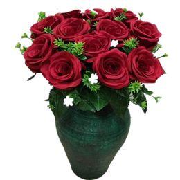 grupo de flores rosa vermelha Desconto Um Rose Flower Bunch (12 Cabeça / Peça) 47 cm Falso Rose Bouquet VERMELHO / BRANCO / ROSA / AZUL para o Casamento Da Noiva Bouquet Artificial Flores Decorativas