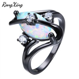 Wholesale Fire Opal Rings Wholesale - Wholesale- RongXing Vintage Unique S Design Rainbow Fire Opal Rings For Women Wedding Jewelry Black Gold Filled White CZ Female Ring RB1116