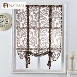 2019 arredamento romano Kitchen Short Curtains Jacquard Roman Blinds Floral White Sheer Panel Blu Tulle Window Treatment Tenda per porte Home Decor arredamento romano economici