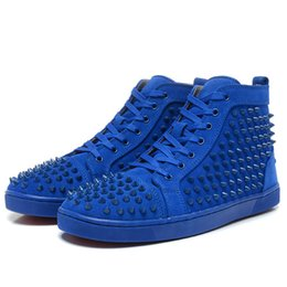 Wholesale Luxury Womens Fashion - With Box Newest Red Bottom Sneakers For Men Luxury Black Suede With Spikes Fashion Casual Womens Shoes Designer Leisure Trainers Footwear