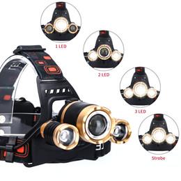 2019 аккумуляторные фары Светодиодный налобный фонарь наружного освещения Масштабируемое освещение T6 2 * 18650 батарей повышенной мощности T6 три фары фары фонари Датчик факела дешево аккумуляторные фары
