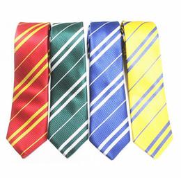 Wholesale Tie Dye Clothes Wholesale - 1200pcs Harry Potter Ties Clothing Accessories Borboleta Necktie Ravenclaw Hufflepuff Necktie Hogwarts Stripe Ties 4 Colors F163
