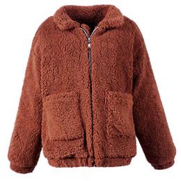cappotto di cammello delle donne Sconti Cappotto donna in lana d'agnello Cappotto corto con cerniera calda invernale femminile con 2 tasche Capispalla basic casual Cammello Cappotto peloso Plus Size