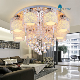 Wholesale flush mount chandeliers - Led Crystal Chandeliers Light Modern Pendant Lamps Brief Circle Living Room Lamps Warm Bedroom Ceiling Lights Study Light