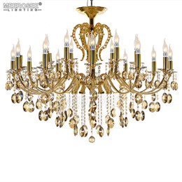 Argento in cristallo online-Large18 Arms Vintage Lampadario in argento Crystal Lighting Fixture Lustre Crystal Lampada a sospensione MD8459 D1080mm H890mm