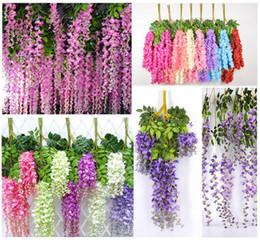 grossisti per fiori artificiali Sconti 6 colori fiori di edera artificiale fiore di seta glicine fiore di vite in rattan per centrotavola decorazioni di nozze bouquet ghirlanda casa ornamento b