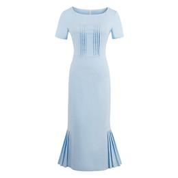 2018 New Summer Women robe rétro moulante bleu clair gaine mi-mollet femelle élégant style sirène o cou robes vintage ? partir de fabricateur