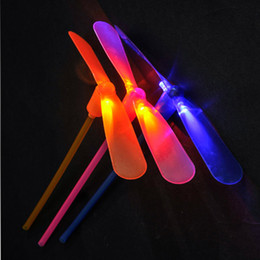 Wholesale Plastic Bamboo Dragonfly - 1 PC Random color creative bamboo dragonfly flash shine hand push luminous small toys Toys for children gifts