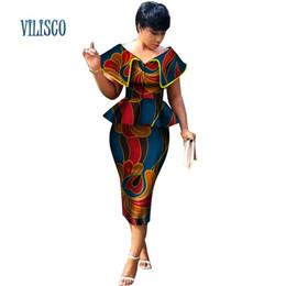 afrikanische wachsdruckstile Rabatt Neue Ankunft Top und Gerade Rock Sets African Wax Print 2 Stücke Rock Set für Frauen Bazin Riche Afrikanischen Stil Kleidung WY3200