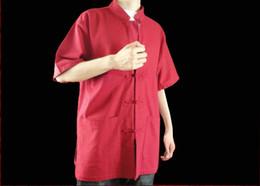 Argentina 100% algodón rojo Kung Fu artes marciales Tai Chi camisa ropa XS-XL o sastre por encargo Suministro