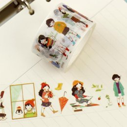 Wholesale Japanese Notebook Wholesale - Wholesale- 2016 Sweet Girl Washi Tape Japanese Masking Tape Decorative Scotch Tape Notebook Diary Diy Accessories Stationery store Creativ