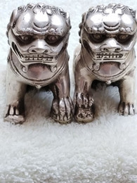 Wholesale Car Statue - Chinese old Tibetan silver carved pair foo dog lion statue